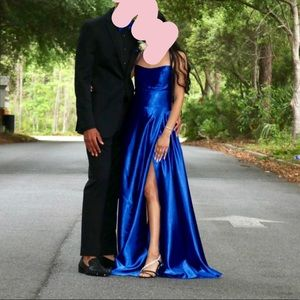 Satin blue prom dress